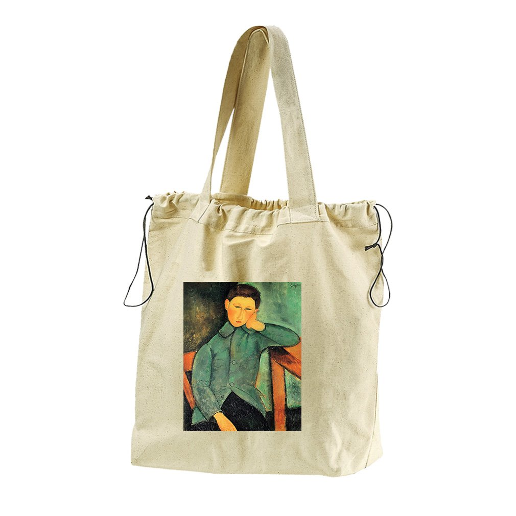 Boy In A Blue Jacket (Modigliani) Canvas Drawstring Beach Tote Bag by Style in Print