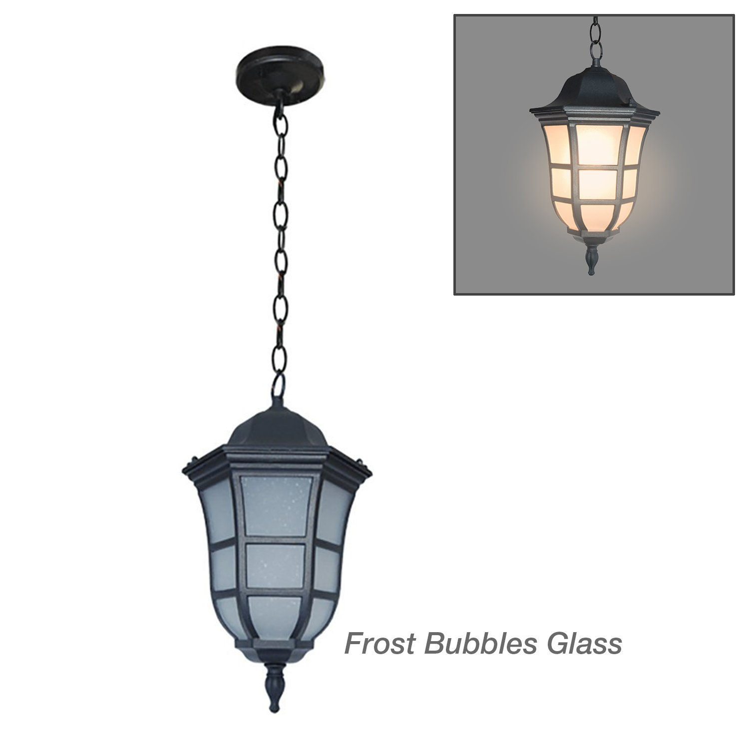 ETOPLIGHTING 13.5''x7.5'' Black Finish Frosted Glass Outdoor Hanging Light Weather Resistant, APL2067