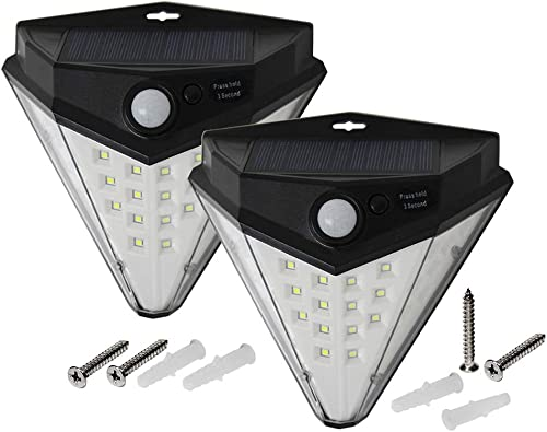 Solar Lights Outdoor, ZXMOTO Wireless 32 LED Solar Lights of 4 Sides with Wide Lighting Area, Diamond Fashion Shape,Waterproof Security Lights for Front Door, Garden,Yard, Pack of 2
