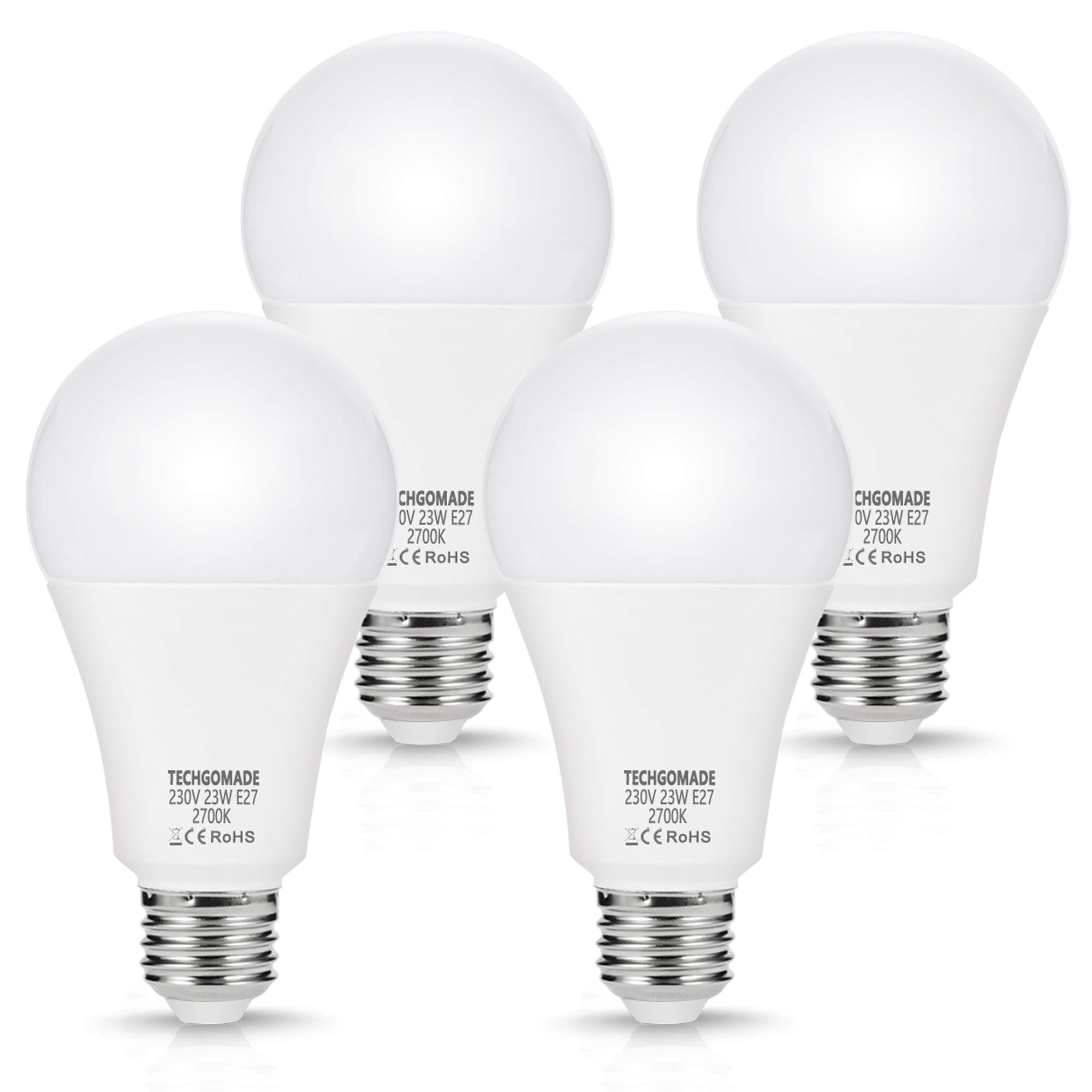 4 X E27 Led Bulbs 23W A65, 2500LM, 200W Equivalent, Edison Screw Light Bulbs, Warm White 2700K, Non-Dimmable, for Garage…