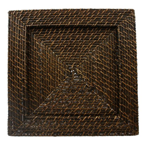 ChargeIt by Jay 1660147 Square Rattan Charger Plate, Dark Brown (Wicker Square Chargers)