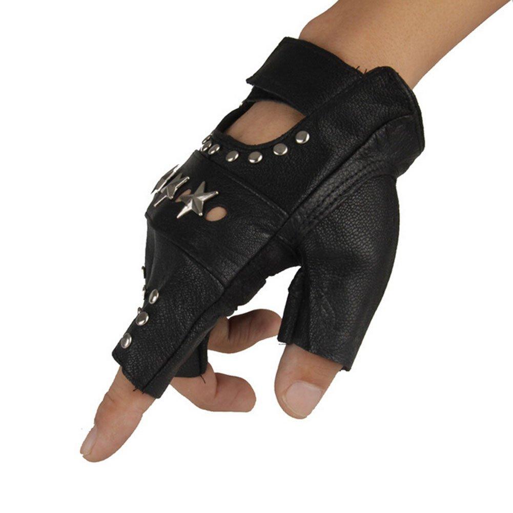ORVR PU Leather Hip hop punk gloves Fingerless Performance Gloves Halloween gloves