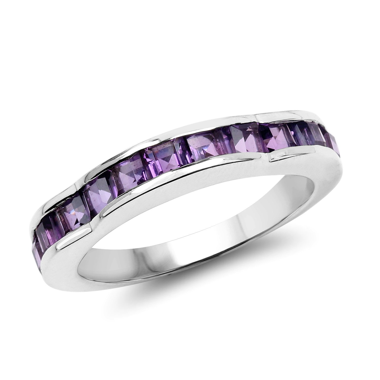 Johareez Princess Cut Genuine Amethyst Sterling Silver Ring