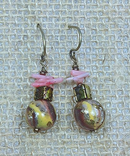 Speckled Coral (Polymer Clay in Pink-Gold-Brown, Pink Coral, Speckled Gold Glass Mini Earrings)
