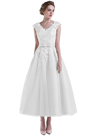 HeleneBridal Women\'s Beach V-Neck Cap Sleeve Wedding Dress Tea ...