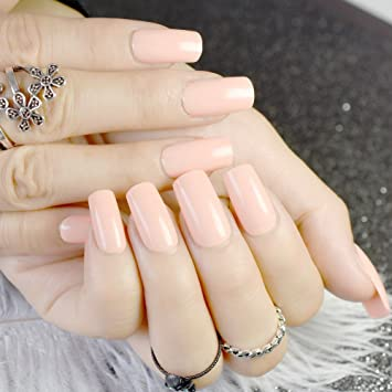 Amazon.com : Shiny Long Full Nails Light Nude Color Candy Flat ...