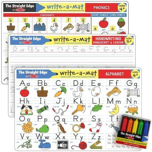 Letters & Words Write-a-Mat w/ Crayon Bundle for Ages 4 to 5+: Alphabets, Phonics & Handwriting - The Straight Edge Series by Melissa & Doug