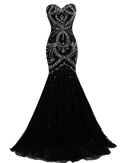 Dresstells reg; Long Mermaid Prom Dress Corset Back Tulle Evening Gowns with Beads: Amazon.co.uk: Clothing