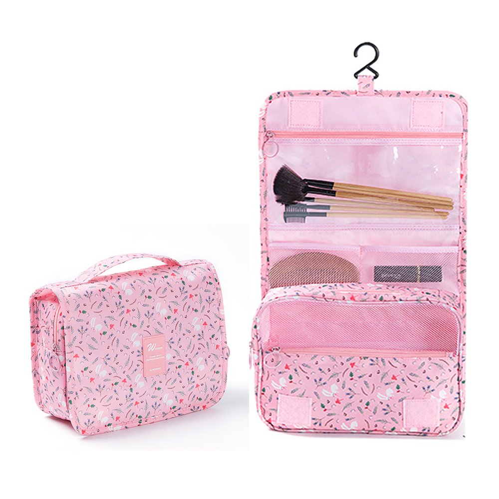 2018 New Hanging Toiletry Bag Bathroom Organizer Travel Nylon Portable Cosmetic Bag for Women and Men(BW Flower) 90 Points