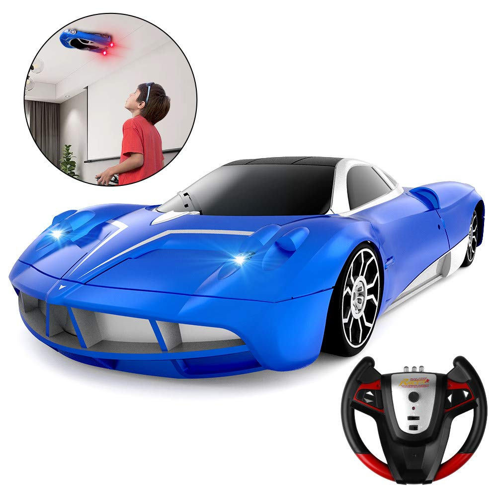 Remote Control Car, SHARKOOL 2019 Newest Wall Climbing Car Dual Mode 360° Rotating Stunt High Speed Rechargeable Race Toy Cars with Led Lights Best Gifts for All Adults & Kids, Blue