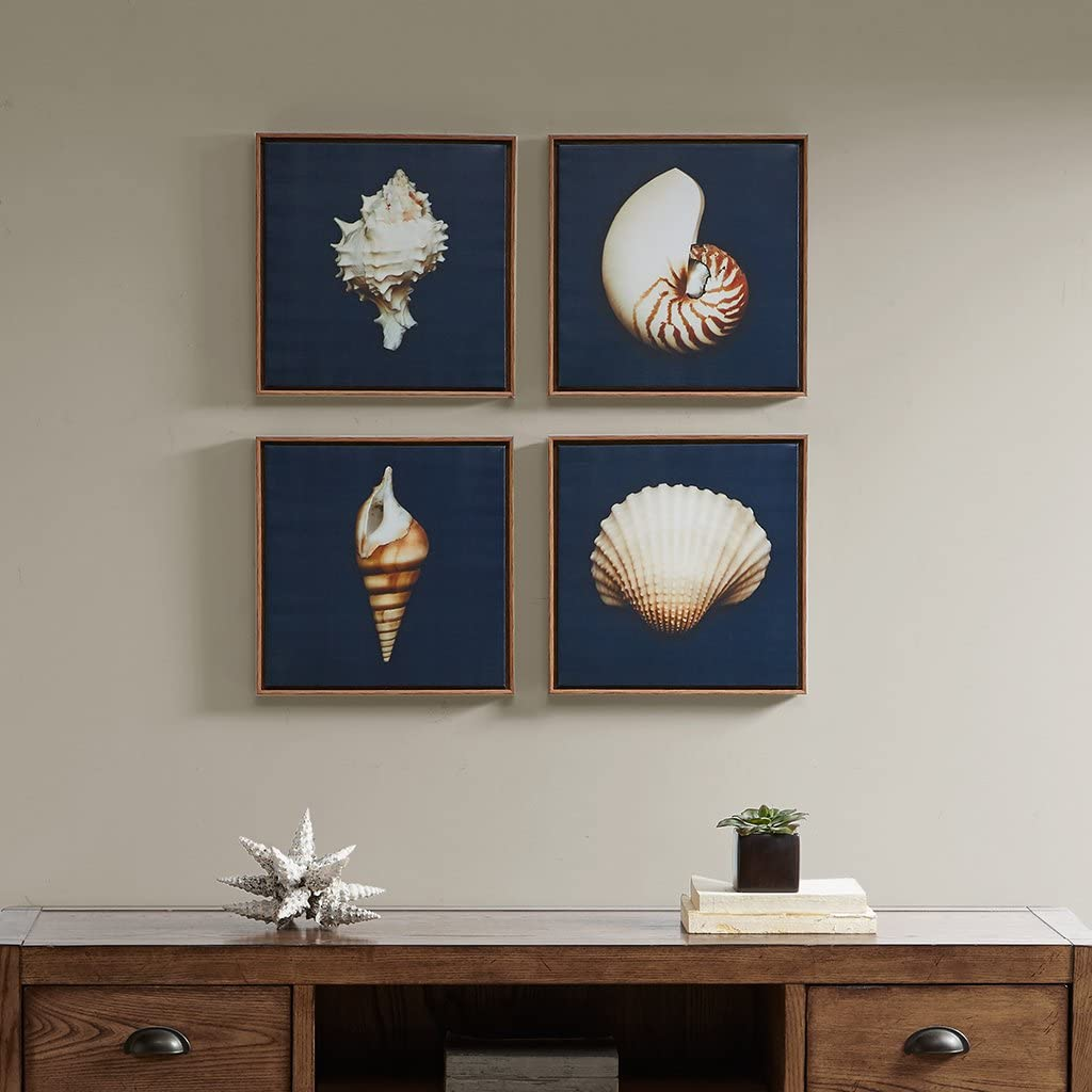 Madison Park, Ocean Seashells 4 Piece Set Wall Art Framed Canvas, Modern Coastal Design, Global Inspired Portrait Painting Living Room Accent Décor, Ivory, 12 x 12