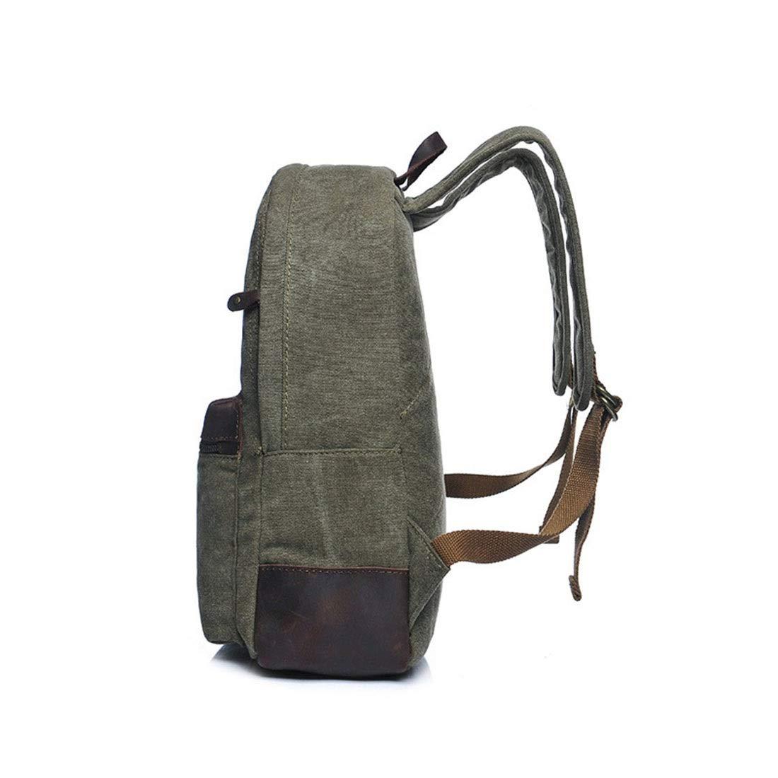 Ryggsäck män/kvinnor ryggsäck dagväska vattentät dragkedja vintage kanvas student axelväska utomhus shopping män ryggsäck (färg: grå) Armégrön