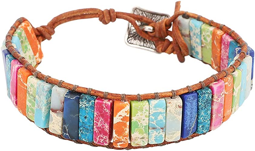 Amazon.com: Emibele Leather Bracelet, Handmade Chakra Wrap Bracelet Natural Gemstone Bohemian Bracelet Jewelry Wrist Accessory for Women Ladies Adult - Colorful: Electronics