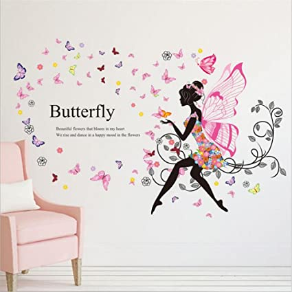 Amazon.com: Angel Wings Wall Stickers Butterfly Stickers Fairy Wall ...
