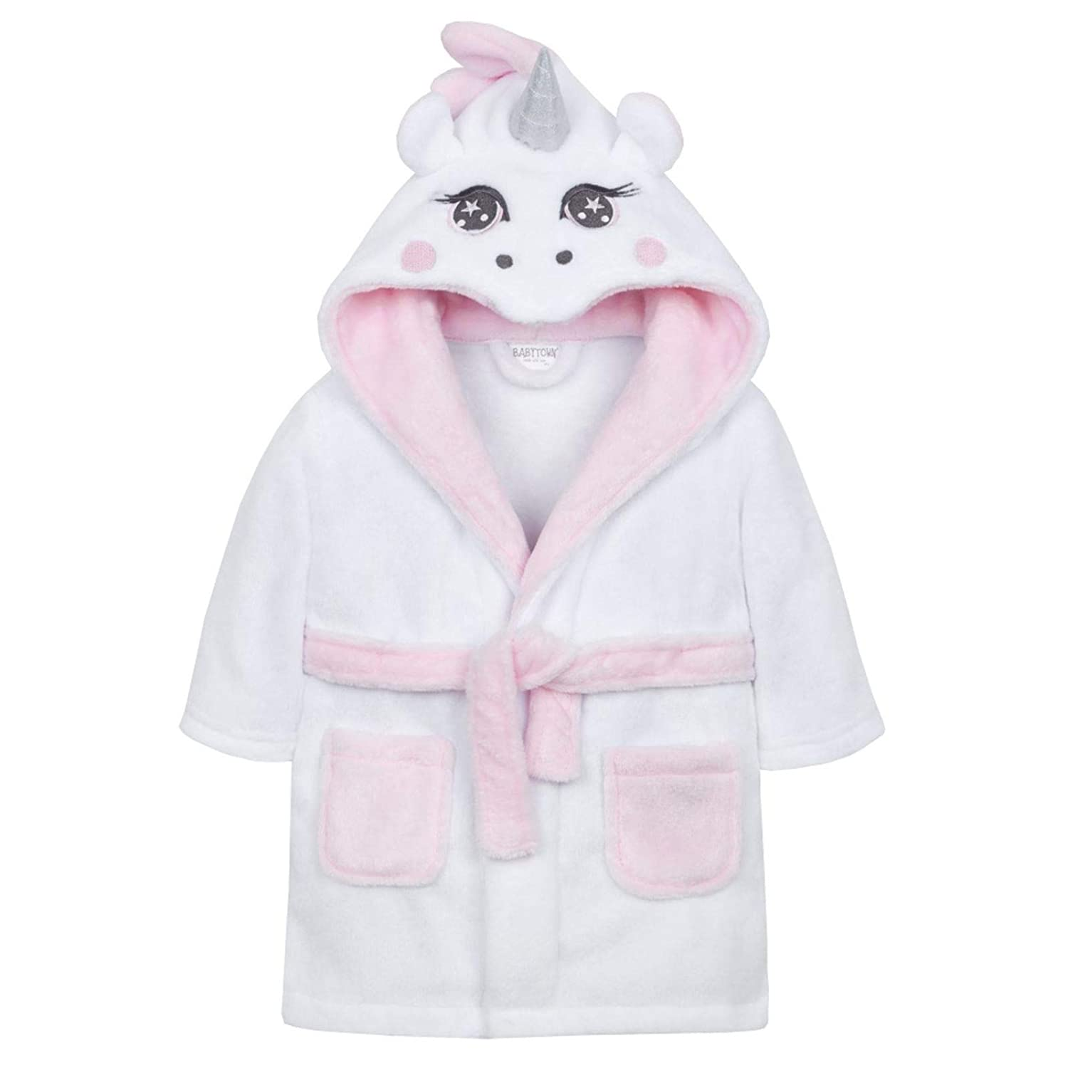 Baby Girls White Unicorn Hooded Plush Dressing Gown