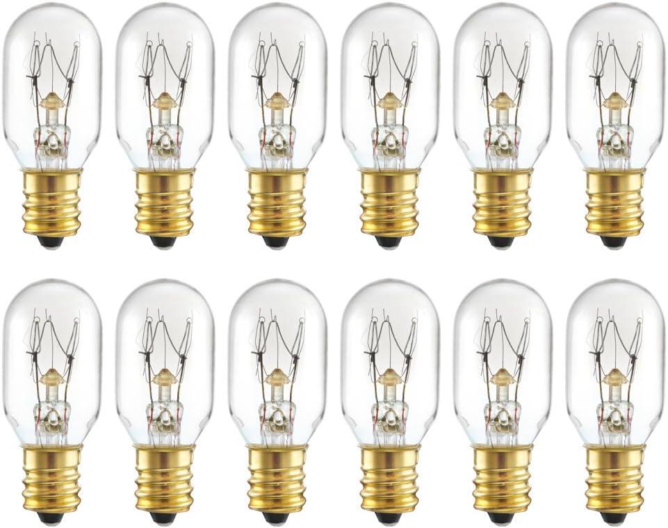 25 Watt Salt Lamp Bulbs Himalayan Original Replacement Light Bulbs Incandescent Candelabra Bulbs E12 Socket-12 Pack