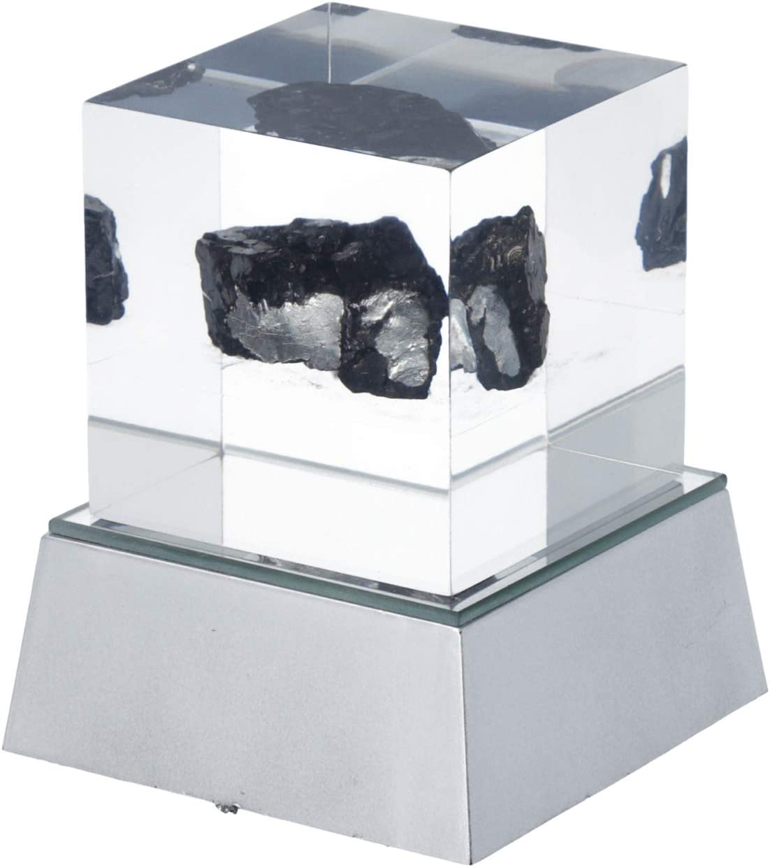 Transparent Healing Pain Relief Karelian Shungite Rough Cube with Color Changing Base Home Office Table Decor Decorative Sculpture Figurines Antique Handmade Gifts Centrepiece
