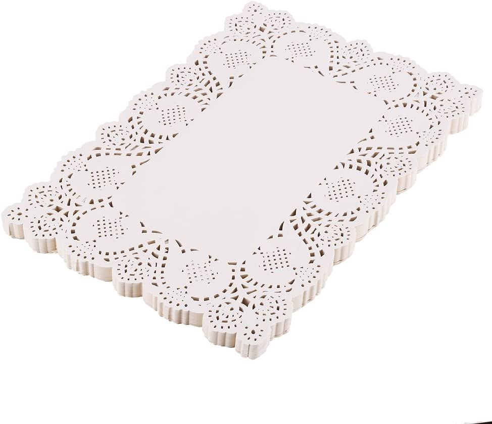 DECORA 200 pcs 10X14.5 Inch White Rectangle Lace Paper Doilies for Wedding Tableware Decorations