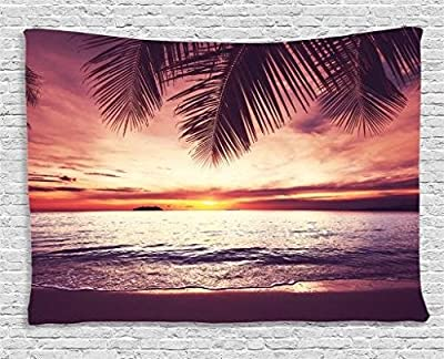 Ambesonne Palm Tree Decor Tapestry, Tropical Beach Under Shadow at Sunset Ocean Waves Serenity in Natural Paradise, Wall Hanging for Bedroom Living Room Dorm, Purple