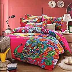 Joybuy Home Textile Peacock Print Bedding Set Peacock Feather Bedding Sets Boho Style Bedding 4pcs Bedding Set Queen Not Included