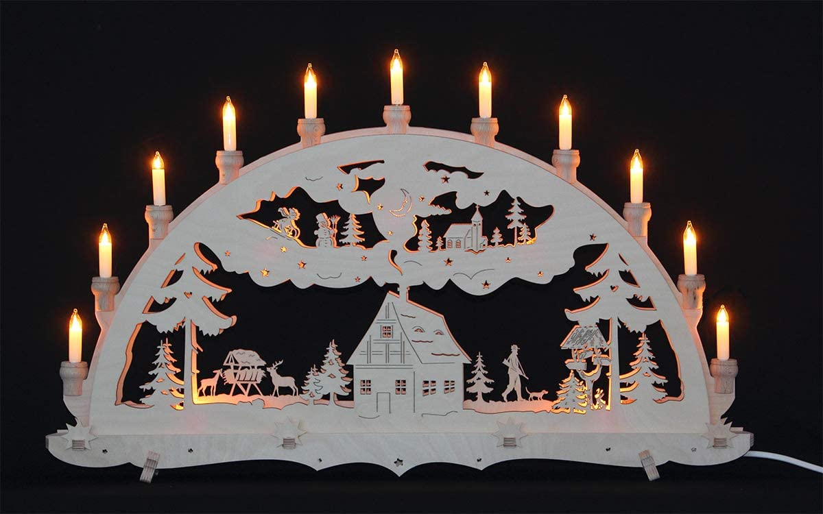 Schwibbogen Lichterbogen Erzgebirge Waldhaus innenbeleuchtet 3D Weihnachten Advent Dekoration