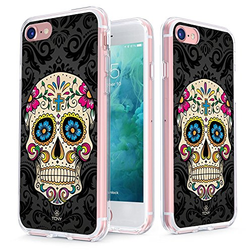 True Color Case Compatible with iPhone 7 Skull Case/iPhone 8 Case Clear-Shield Sugar Skull on Damask Printed on Clear Back, Soft and Hard Thin Shock Absorbing Dustproof Full Protection Bumper Cover