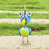 W-DIAN solar garden lights metal art outdoor Patio decorative Animal decor LED lawn Metal Decorative parrot Statue