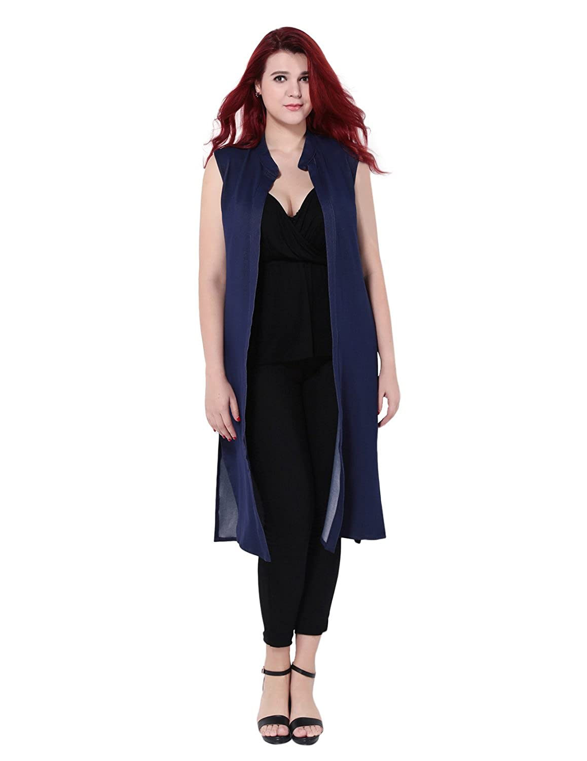 HaoDuoYi Womens Plus Size Open Front Cape Sleeveless Trench Coat