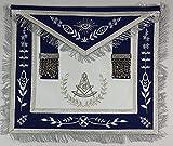 Masonic Grand Lodge Past Master Royal Blue Apron With Silver Fringe