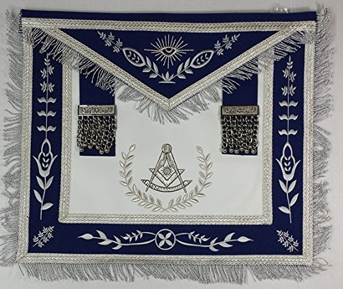 Masonic Grand Lodge Past Master Royal Blue Apron With Silver Fringe by Zest4Canada