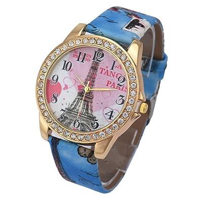 jewlry- Susenstone moda mujer cuero cuarzo analógico moda relojes de pulsera bonito brazalete con el
