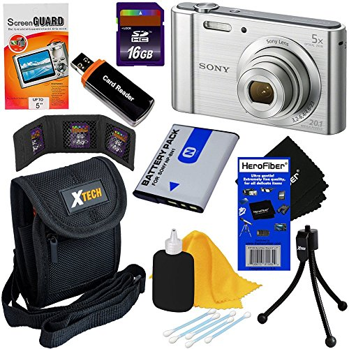 Sony Cyber-shot DSC-W800 20.1 MP Digital Camera with 5x Zoom and Full HD 720p Video, Silver (International Version) + NP-BN1 Battery + 8pc 16GB Accessory Kit w/ HeroFiber Ultra Gentle Cleaning Cloth by HeroFiber