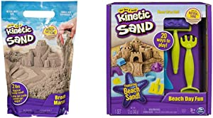 Kinetic Sand The Original Moldable Sensory Play Sand, Brown, 2 Lb & Beach Day Fun Playset with Castle Molds, Tools, and 12 oz. of Kinetic Sand for Ages 3 and Up
