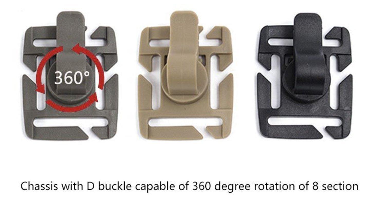 Clips tactiques militaires de tube dhydration Clip de tube deau MOLLE Attachement de sangle 360 /° rotatif outil multifonctionnel par ZENDY paquet de 10