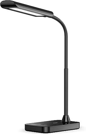 TaoTronics LED Desk Lamp, Flexible Gooseneck Table Lamp, USB Charging Port, 5 Color Temperatures with 7 Brightness Levels, Touch Control, Memory Function, 7W (AU Plug, 240V)