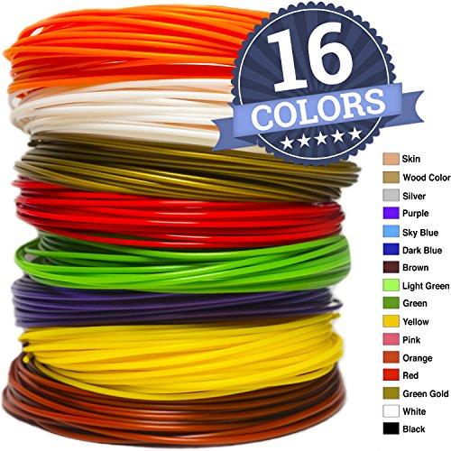 PLA Filament Refills for 3D Pen - 16 Colors, 1.75 mm - Each Roll 20 Feet, 320 Feet Total - Free Stencils eBook - for MYNT 3D, Tecboss, Manve, Scribbler & TRLIFE Pens - Not Compatible with 3Doodler