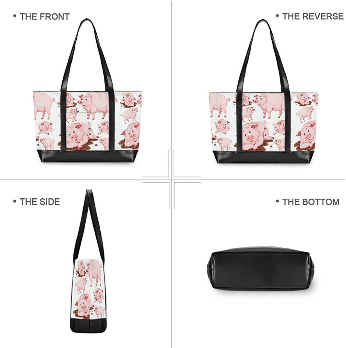 Leather Business Work Office Briefcase for Computer Cute Pig Cartoon 15.6 Inch Laptop Tote Bag For Womens Large Tote Bag Lightweight Shoulder Bag Multi-Pocket Canvas