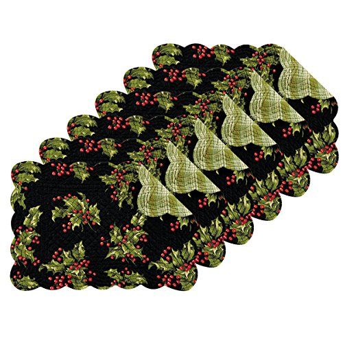 - C&F Home Holly Black Quilted Reversible Placemat 13x19 - Set of 6