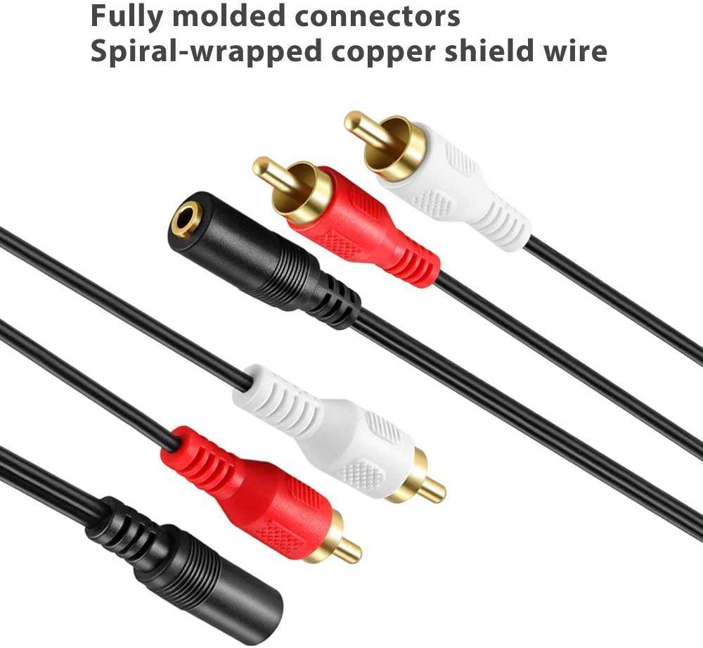 3.5mm Female to Stereo RCA Male AUX Auxiliary Male Headphone Jack Plug Y Splitter to Left//Right 2RCA Male Connector 2 Pack Gold-Plated 3.5mm to RCA Stereo Audio Cable