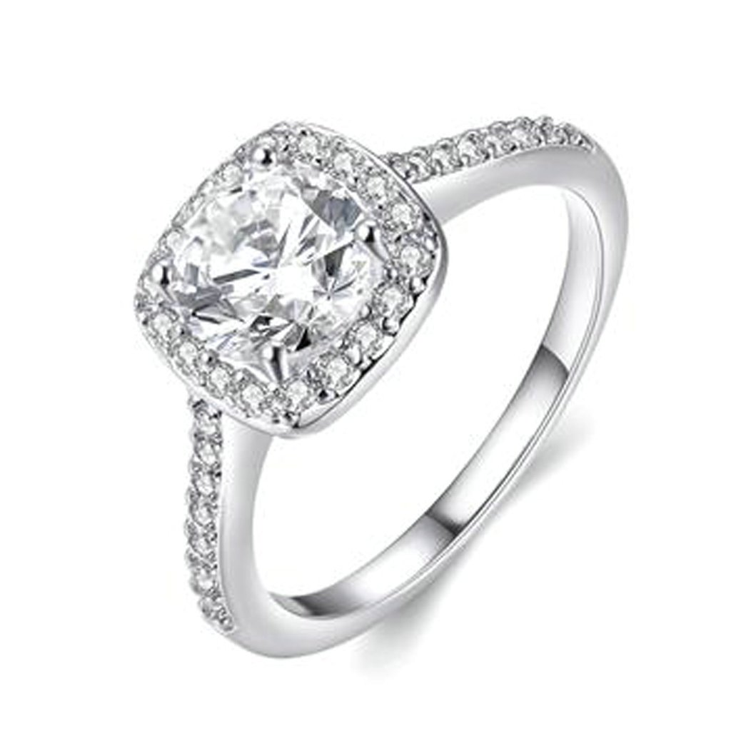 Women Wedding Band Gold Plated Cubic Zirconia Cushion Solitaire Engagement White Gold Size 5 by Aienid CHXCABFALBN29