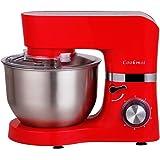 Cookmii 1500W Küchenmaschine Rührmaschine Knetmaschine 6 Geschwindigkeit 5,5 L mit Edelstahlschüssel Teigmaschine Orange