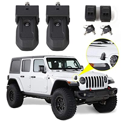 RT-TCZ Hood Latches Hood Lock Catch Latches Kit Anti-Theft Accessories for 2020-2020 Jeep Wrangler JL 2-Door 4-Door: Automotive
