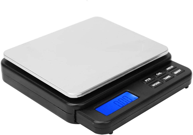 Apagado automático Báscula de pesaje eléctrica Báscula de cocina digital de alta sensibilidad con pantalla retroiluminada azul 1000g / 0.01g para el hogar para interiores(black)