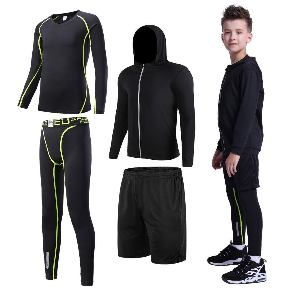 Tesuwel 2/3/4/5 Pcs Boys Girls Athletic Compression Pants and Shirts Base Layer Thermal Underwear Set Running Tights Leggings