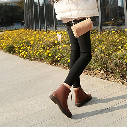 Neartime Promotion❤️Women Boots, 2018 Fashion Student Flat Martin Boots Solid Color Zipper Thick Short Leather Shoes by Neartime Sandals (Image #3)