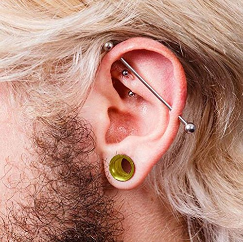 Ear Gauge Stretching Kit,36PC Gauges Kit Acrylic Plugs Stainless Steel Tapers 14G-00G Ear Stretching Piercing Set,Yellow by WANGYONGQI (Image #2)