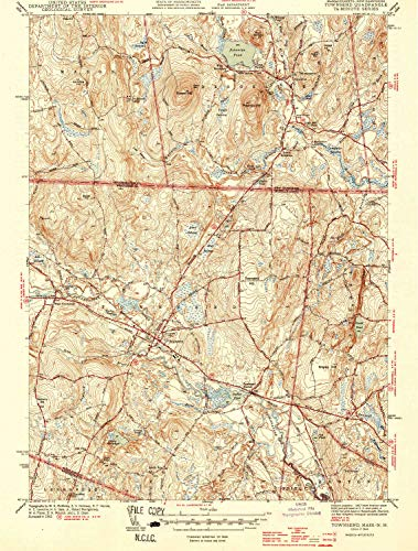 YellowMaps Townsend MA topo map, 1:31680 Scale, 7.5 X 7.5 Minute, Historical, 1944, 19.6 x 14.8 in - Paper