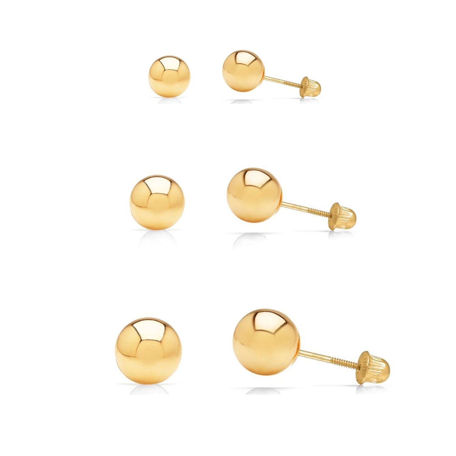 3 Pair Set 14k Yellow Gold Ball Stud Earrings 3mm, 4mm, 5mm with Secure Screw-Backs