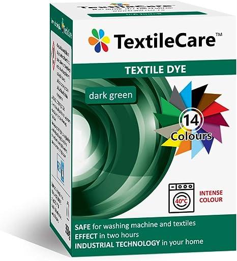 TextileCare Tinte de tela para lavadora para ropa y textiles, 350 g de tinte para ropa de 600 g, 14 colores (verde oscuro)