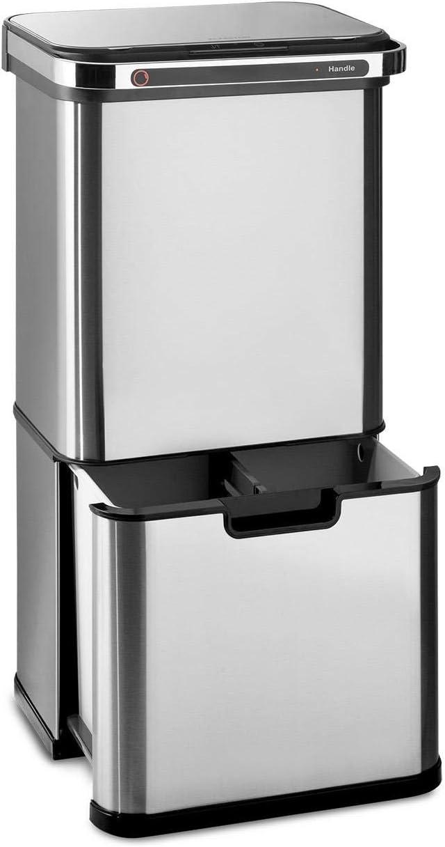 Klarstein Touchless Ultraclean - Cubo de basura con sensor, Volúmen de 60 litros, 3 contenedores, Esterilización por ozono, Elimina 90% de las bacterias, Filtro de olores integrado, Plateado